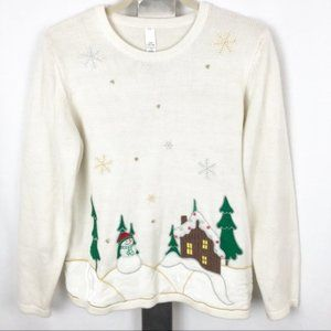 Sweaters - Large White Long Sleeve Christmas Knit Sweater